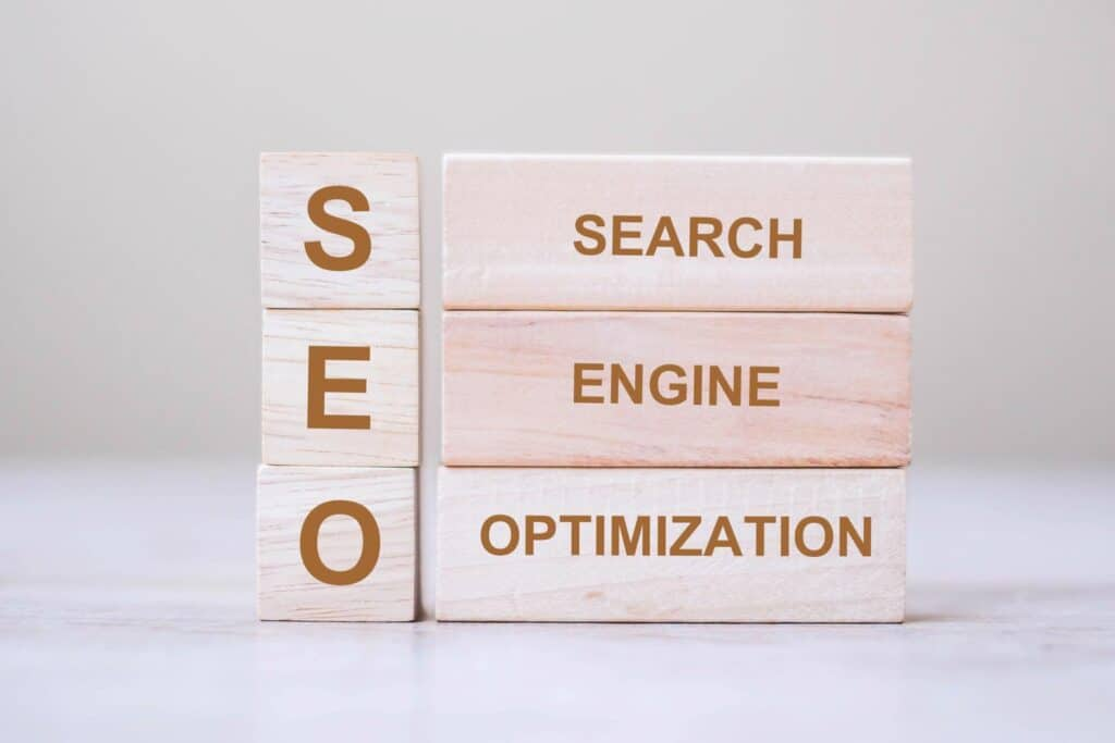 SEO (Search Engine Optimization) text wooden cube blocks